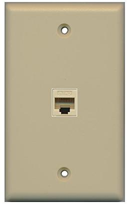 RiteAV 1 Gang 1 Port Cat6 Wall Plate - Ivory