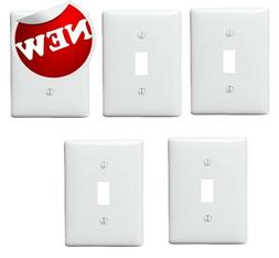 1-Gang Toggle Wall Plate White Pack of 5 Plastic Unbreakable