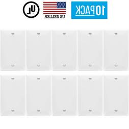 10 PACK 1-GANG BLANK OUTLET NO DEVICE COVER WALL PLATE, WHIT