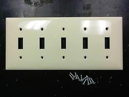 1 pc 5-Gang Toggle Switch Wall Plate Cover IVORY Five Unbrea