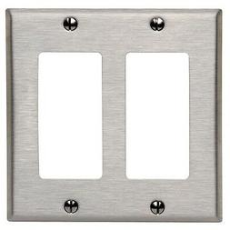 *NEW* Decorator 2-Gang Stainless Steel Wall Plate Metal Dec