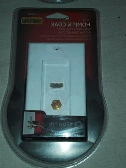 GE 1-Gang HDMI & Coax White Single Cable Access/Recessed Wal