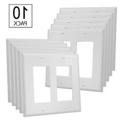 10 Pack - 2-Gang Cover Plate - UL Listed - GFCI Plastic Wall