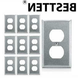 10PK BESTTEN 1-Gang Stainless Steel Duplex Wall Plates Metal