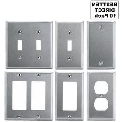 10 Pack Stainless Steel Wall Plate Outlet Cover Toggle Rocke