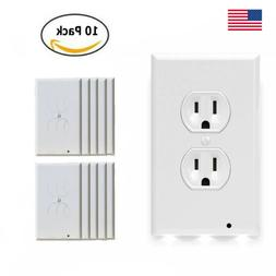 10 Pack Wall Outlet Cover Duplex Plate Case with 3 LED Night