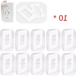 10 Pcs Gang Switch Cover Decorator Screwless Outlet Wall Pla