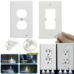 10Pcs DUPLEX WALL PLATE LED NIGHT LIGHT COVER Outlet Light S