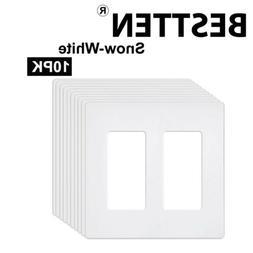 BESTTEN 10PK 2-Gang Screwless Wall Plate Decor Switch GFCI R