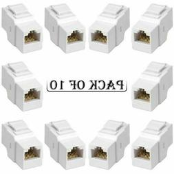 10x Cat5E RJ45 F/F Ethernet Network Coupler Snap-In Jack For