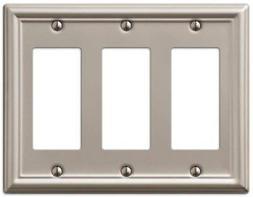 AmerTac 149RRRBN Chelsea Steel Triple Rocker-GFCI Wallplate,