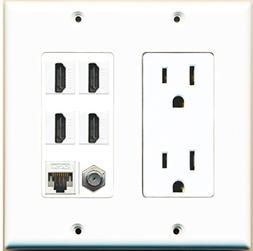 RiteAV 15A Power Outlet 4 Port HDMI 1 x Cat5e Ethernet Coax