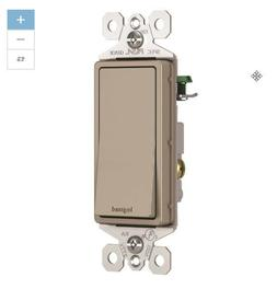 Pass & Seymour 15A Single-Pole Decorator Switch, Nickel - Li