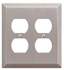 Amerelle 163DDBN 2 Duplex Wall Plate, Brushed Nickel