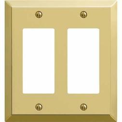 Amerelle 163RRBR 2 Rocker-GFCI Wall Plate, Polished brass