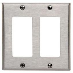 Leviton 84409-40 2-Decora/Gfci Standard Size Wall Plate, 2 G