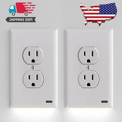 2 Guidelight Outlet Wall Plate With LED Night Lights - No Ba