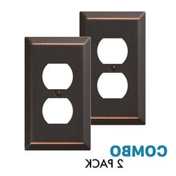 2-Pack Duplex Outlet Wall Plate Decorative Steel, Oil Rubbed