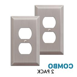 2-Pack Duplex Outlet Wall Plate Decorative Stamped Steel, Br