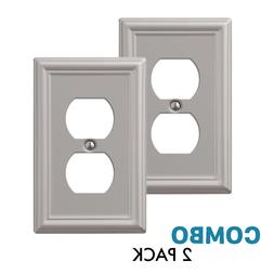 2-Pack Duplex Outlet Wall Plate Elegant Steel, Brushed Nicke