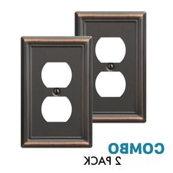 2-Pack Duplex Outlet Wall Plate Elegant Steel, Oil Rubbed Br