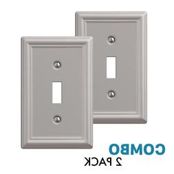 2-Pack Toggle Wall Plate Light Switch Wallplate, Brushed Nic