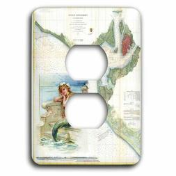 3dRose 2 Plug Outlet Socket Plate Print of Charleston Harbor
