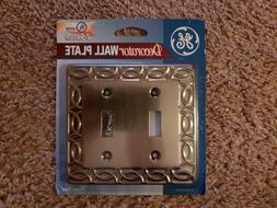 GE 2-Switch Plated Steel Decorator Wall Plate