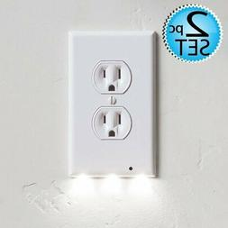 2 Wall Outlet LED Night Light Easy Snap On Outlet Cover Plat