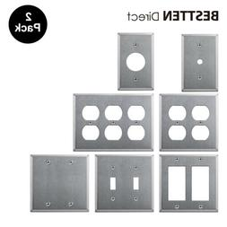 2PK Metal Wall Plate Decor/Duplex/Toggle/Blank  Stainless St