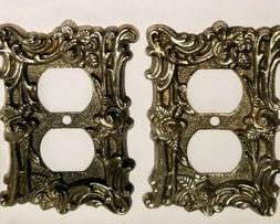 2Vintage American Tack & Hardware Brass Electrical Wall Plat