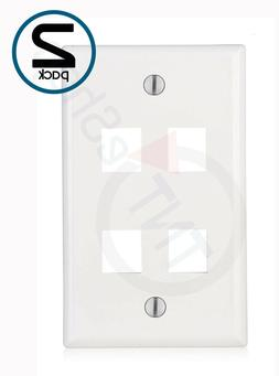 Lot 2x TNT 4 Port Keystone Jack RJ45 CAT Network Face plate Wall Plate White