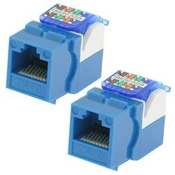 2x Cat6 Tool Less Network LAN Snap-in Insert Jack for Keysto