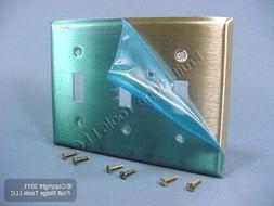 Leviton 84011-40 3-Gang Toggle Device Switch Wallplate, Stan