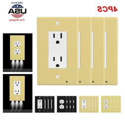 4 Pack Outlet Wall Plate Led Night Lights Cover Duplex With