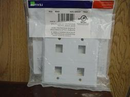 Leviton 43080-2S4 QuickPort Wallplate, Dual Gang, 4-Port, St