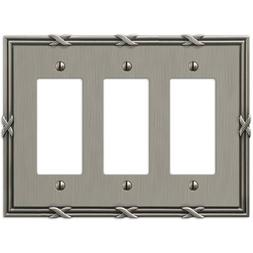 Amerelle 44RRRAN Ribbon and Reed 3 Rocker-GFCI Wallplate, An