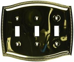 Baldwin 4793030 Triple Toggle Rope Swith Plate Bright Brass