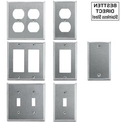 Stainless Steel Wall Plate Blank Toggle Rocker Switch Duplex