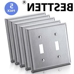 5 Stainless Steel Wall Switch Plate Outlet Cover Double Togg
