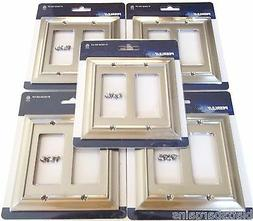 5 PEERLESS SATIN NICKEL WALL PLATE GFCI ROCKER SWITCH OUTLET