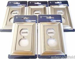 5 PEERLESS SATIN NICKEL WALL PLATE OUTLET COVER PLUG LIGHT S