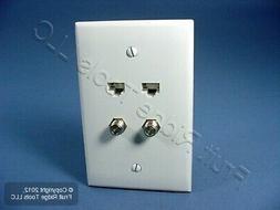 Leviton 5EA10-M4W 2 Data Ports QuickPlate Mid Size 1 Gang Wa