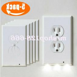 5PC Outlet Wall Plate Led Night Lights Cover Duplex With Amb
