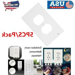5PCS Outlet Wall Plate Led Night Lights Cover Duplex With Am