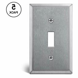 5PK BESTTEN 1-Gang Toggle Metal Wall Plate Stainless Steel O
