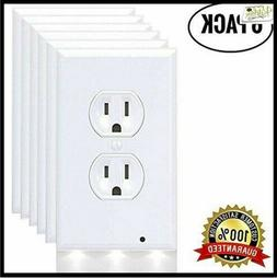 6 Pack Outlet Cover Outlet Wall Plate With 3 LED Night Light