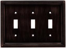 Brainerd 64408 Beaded Triple Toggle Switch Wall Plate / Swit