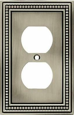 Brainerd 64776 Beaded Single Duplex Outlet Wall Plate, Brush