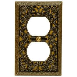 65DAB Filigree Aged Antique Brass Single Duplex Outlet